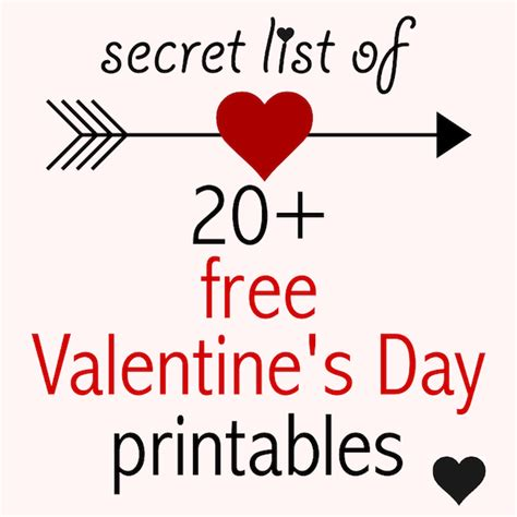 secret s day secret list of free printable valentines
