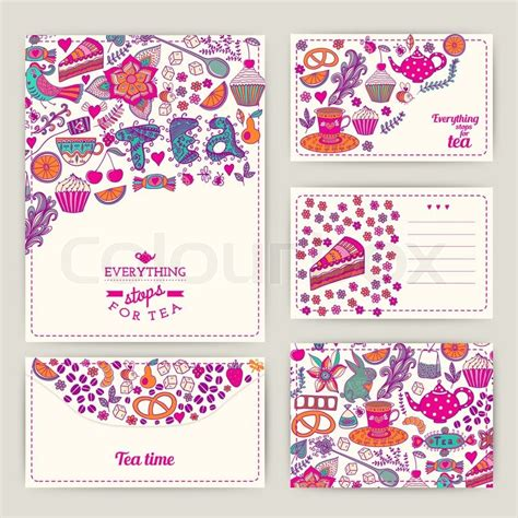 Sweet Pattern Card 6 tea branding design coffee and tea design set cards sweet pattern coffee tea background