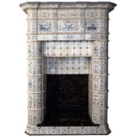 Vintage Fireplaces by Antique Ceramic Fireplace With Blue Decor On A White