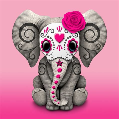 quot pink day of the dead sugar skull baby elephant quot art