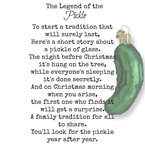 pickle poem legend of the pickle vintage treasures