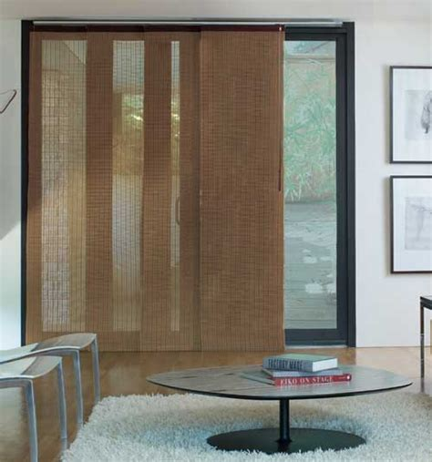 patio door panel blinds levolor 174 panel track blind woven woods citiscape spice