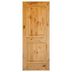 krosswood doors 30 in x 80 in rustic knotty alder 2 panel top rail arch solid core wood left