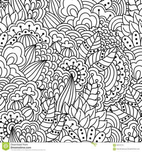 seamless floral pattern  coloring book stock vector