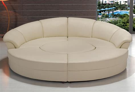 Contemporary Circle White Leather Sectional Sofa Set W