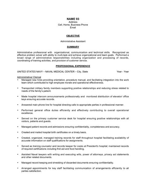 Resume Exles For Administrative Assistant by Career Objective For Executive Assistant 28 Images 11