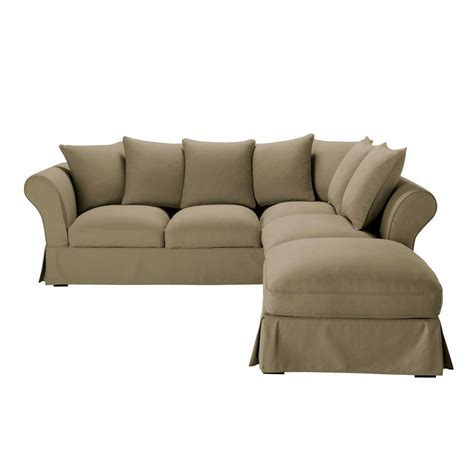 cotton sofas 6 seater cotton corner sofa in taupe roma maisons du monde