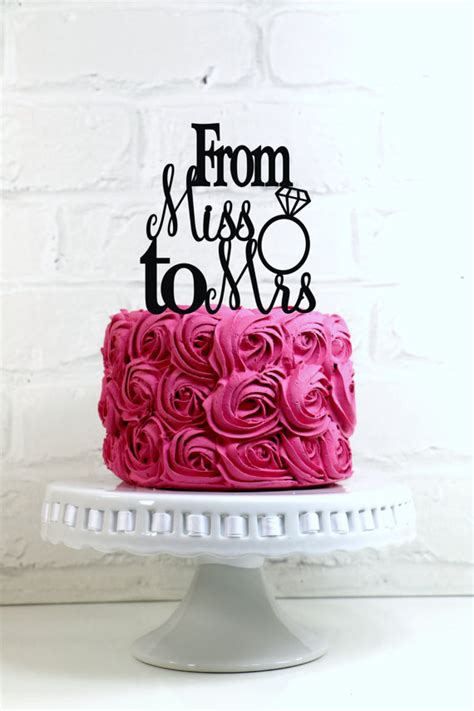 from miss to mrs wedding cake topper or sign with ring