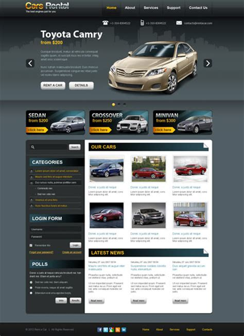 joomla html5 template rent a car v2 5 joomla template html5 web templates