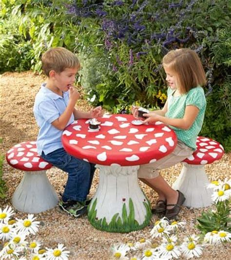 toadstool table and chairs black friday handpainted lightweight resin mushroom table