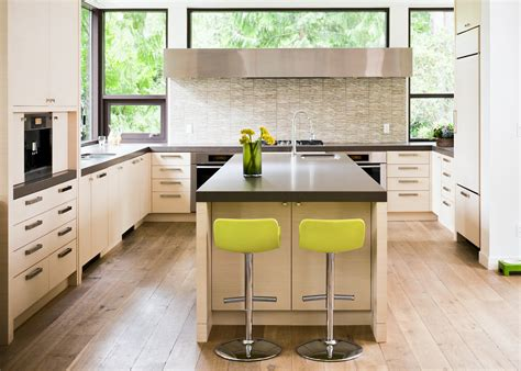 modern counter stools kitchen with acid green