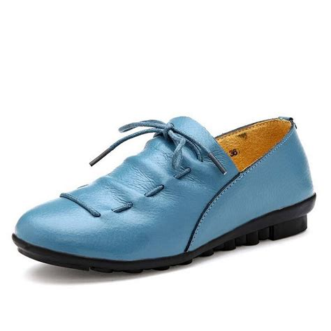 New 2015 Women Genuine Leather Shoes Flats Woman Causal