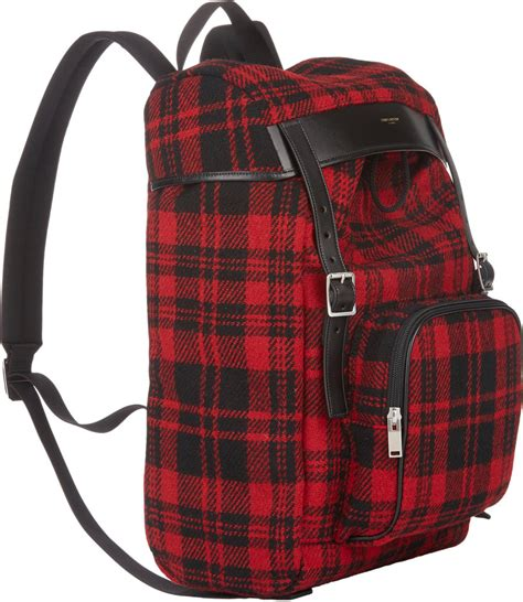 plaid buckled backpack lyst laurent plaid backpack in for