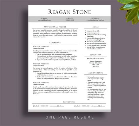 stand out resume templates professional resume template for word and by printablesbylulu