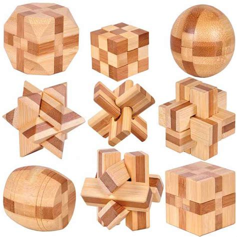 puzzle toys 3d handmade vintage wooden toys traditional bamboo adults puzzle brain teaser