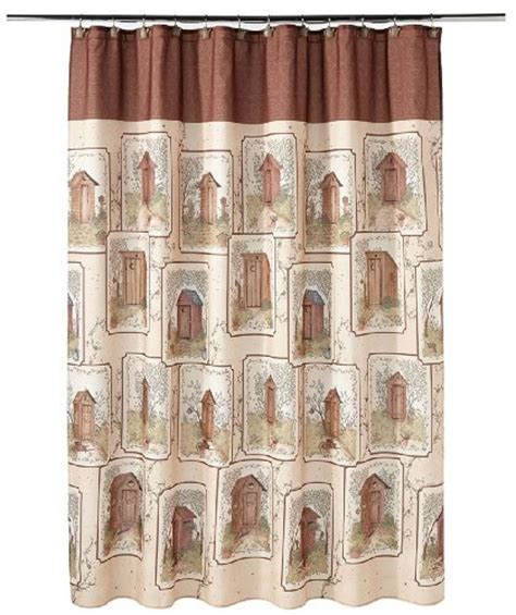 linda spivey shower curtain fun outhouse themed bathroom decor xpressionportal