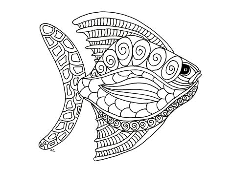 fish mandala coloring page fish zentangle step 1 by olivier animals coloring