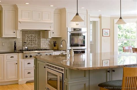 traditional two tone cabinets large island by kitchen
