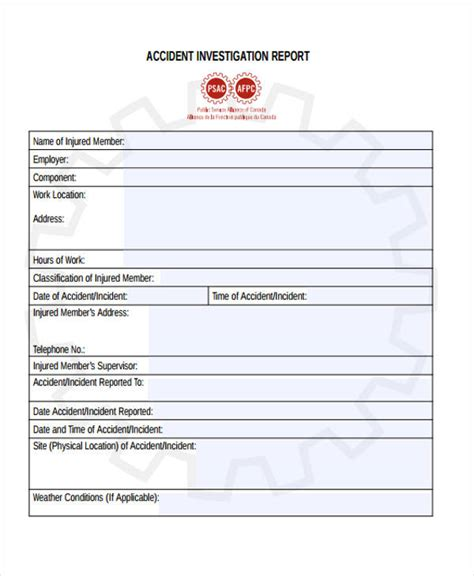 investigation report template 9 investigation report templates free sle exle