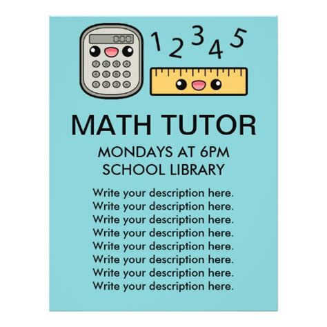 templates for tutoring flyers cute calculator and ruler math tutor template custom flyer