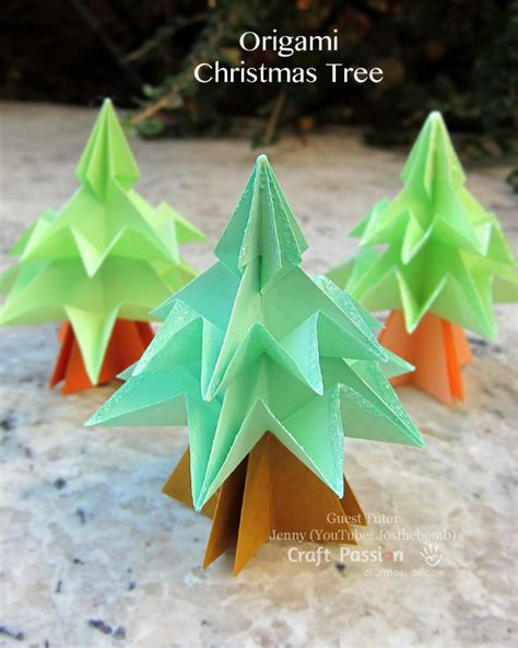 christmas tree paper folding tree origami free tutorial craft