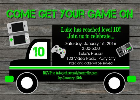 game truck layout birthday invitation video images invitation sle and