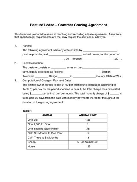 pasture lease agreement   templates   word