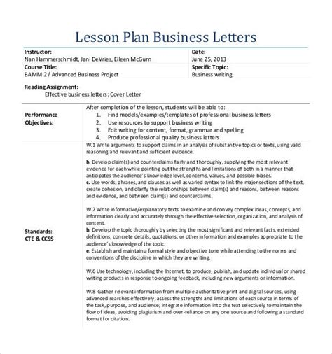formal letter format lesson plan block style letter format template