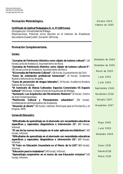 Plantilla Curriculum Vitae Junta De Andalucia Curriculum Vitae General 2013
