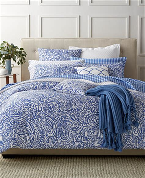 macys bed comforters charter club damask designs paisley denim king comforter