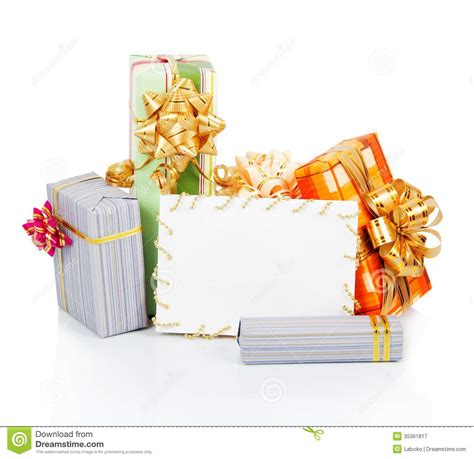 Christmas Gift Boxes For Gift Cards - christmas card with gift boxes royalty free stock photography image 35361817