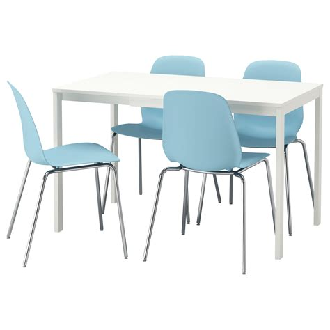 Blue Dining Table And Chairs Leifarne Vangsta Table And 4 Chairs White Light Blue 120 180 Cm Ikea