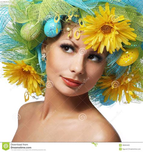 easter time avarde look hairstles spring woman beautiful girl with easter eggs and stock