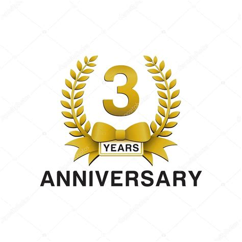 3rd anniversary images 3rd anniversary golden wreath logo stock vector 169 ariefpro 86352428