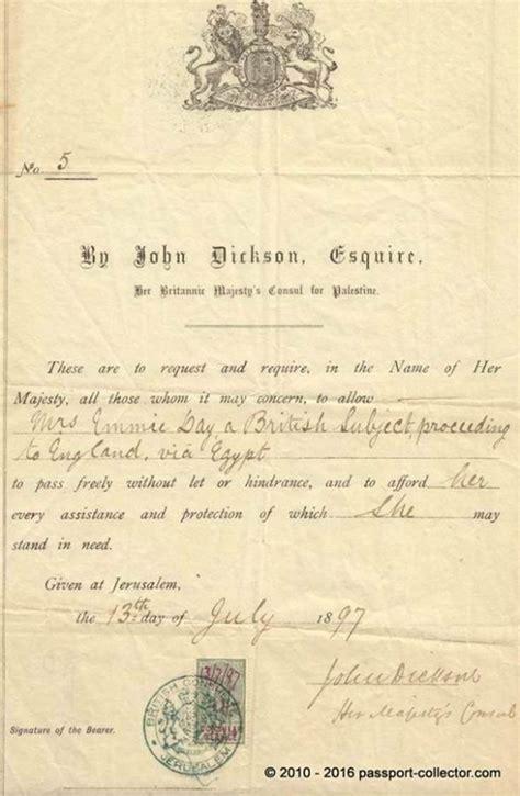 Palestine Ottoman Rule by Passport 1897 Ottoman Rule Consul In Jerusalem