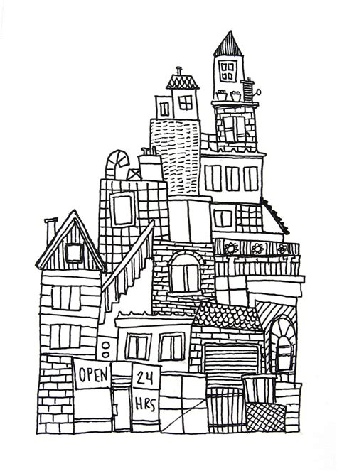 simple city drawing www imgkid the image kid has it