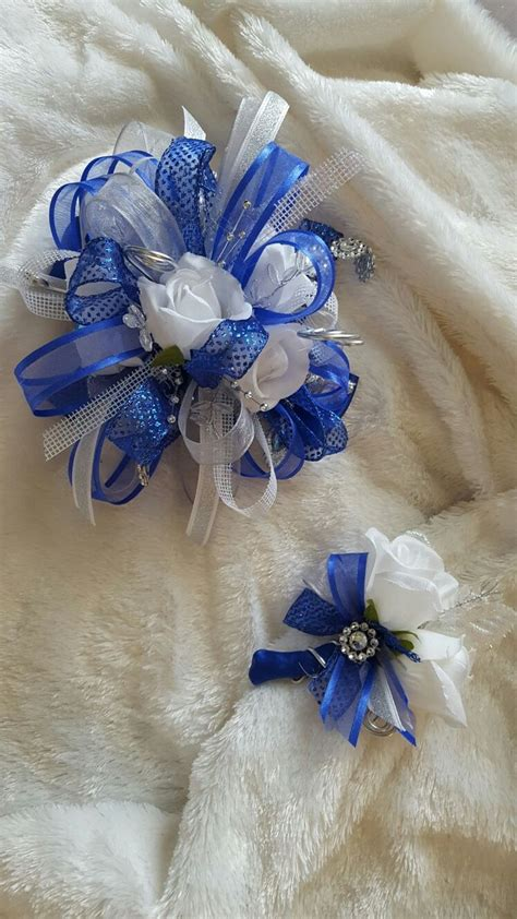 Corsage Blue Silver royal blue and silver prom corsage www imgkid the