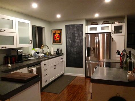 our new kitchen white shaker cabinets concrete