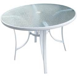 40 quot round white glass top patio table