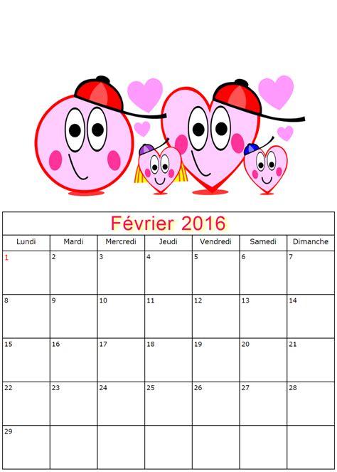 Calendrier 5 Fevrier Calendriers De Fevrier 2016 224 Imprimer Gratuitement
