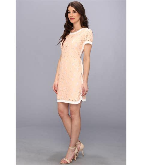 Sleeve Lace T Shirt Dress lyst donna sleeve flower lace tshirt dress