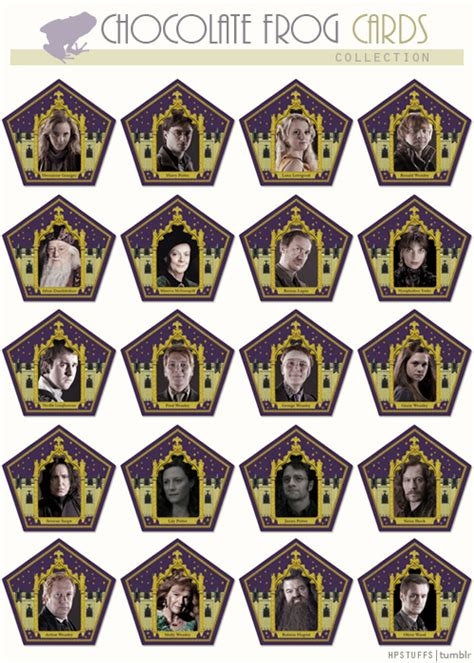 Chocolate Frog Trading Card Template by 6 Best Images Of Printable Chocolate Frogs Wizard Cards
