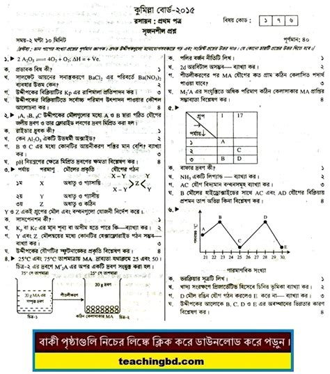 paper pattern chemistry 1st year 2015 chemistry 1st paper question 2015 comilla board