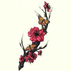 Flower Meaning New Beginning - sakura flowers and butterfly tattoo design