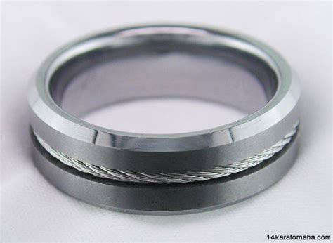 tungsten carbide mens wedding band twisted cable inlay