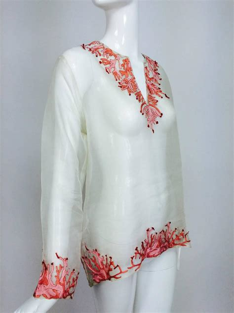 Sale Bangkok Organza Top jeannie mcqueeny white silk organza coral embroidered tunic top for sale at 1stdibs