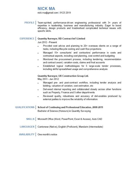 Cover Letter For Cv Quantity Surveyor Quantity Surveyor Cv Ctgoodjobs Powered By Career Times