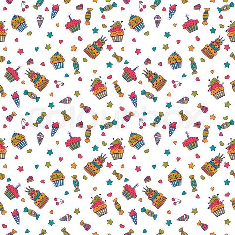 pattern birthday cute cute sweet seamless pattern birthday background vector