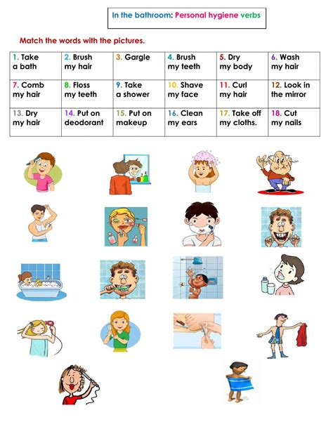 printable pictures verbs personal hygiene worksheet the large and most