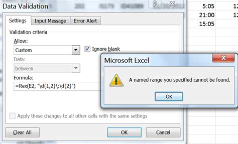 objregex pattern ms excel data validator does not accept call to the custom